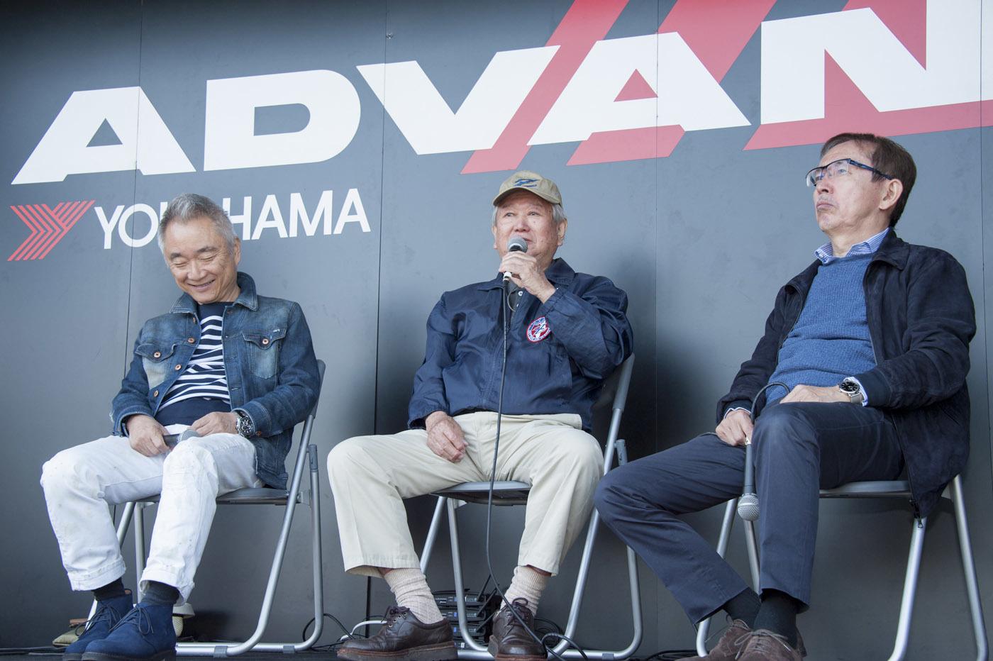 (写真右)中村史郎 /元日産自動車専務 、デザイン本部長、(中) 松尾良彦/S30フェアレディZチーフデザイナー、(左) 山下敏男/Z32デザイナー、首都大学東京システムデザイン学部教授