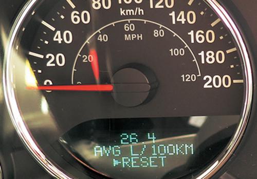 ラングラーの平均燃費計は100km走るのに使用する燃料を表示する方式。編集部から首都高・代官町入口までの燃費は3.8km/Lだった