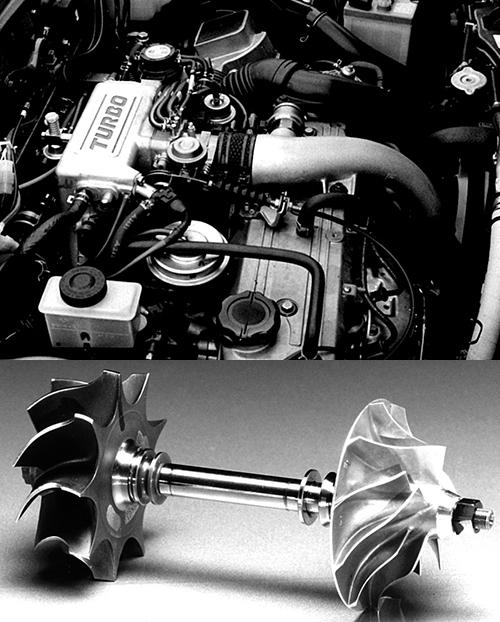 (上)1490㏄のEGIエンジンにIHI製ターボを組み合わせ最高出力115馬力、最大トルク16.5㎏mを発生した(下)ファミリアターボのIHI製タービン