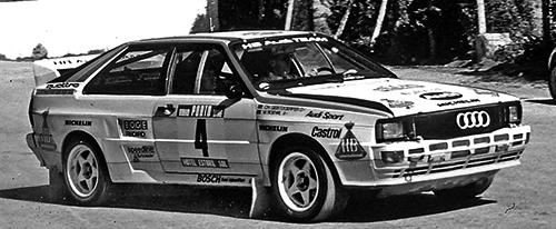 1984年のWRCポルトガルを走るクアトロ。アウディは1982年と1984年のマニファクチャラーのタイトルを取っている