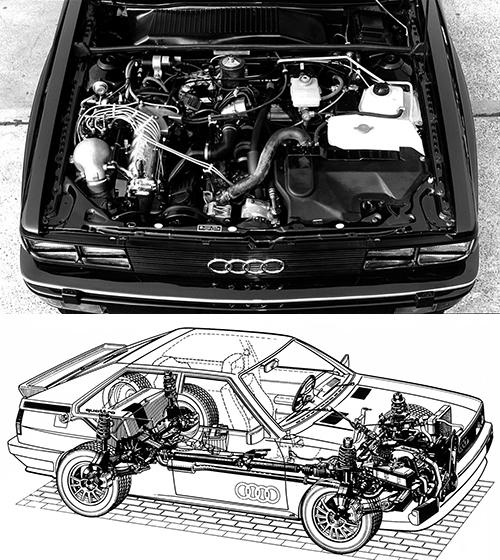 (上)直列5気筒SOHC2.1L IC付きターボエンジンの最高出力は160ps、最大トルク23.5kgm。欧州仕様の200ps、29.1kgmに比べると排ガス規制のためかなり落ちる(下)5気筒エンジンは縦置きにフロントオーバーハングに搭載されていることがよくわかる