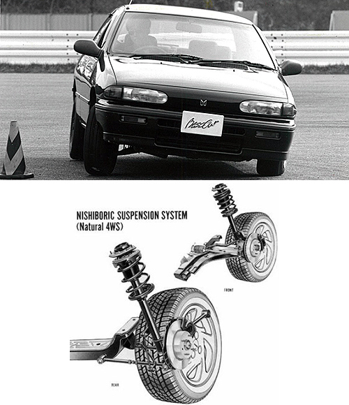 1990年に登場した3代目ジェミニのリアサスが『ニシボリックサスペンション』。ラテラルロッドの前ブッシュを硬く、後ブッシュを柔らかくするとともに後リンクの車体取り付けを高くすることでロール初期に逆位相、ロール後に同位相に後輪がステアするようにした。