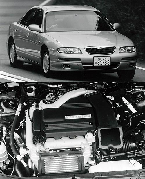吸気バルブのタイミングを変化させることで膨張比に対し圧縮比を低くすることで高い熱効率を保ちながら安定した燃焼を実現するエンジンサイクル。1993年登場のユーノス800に搭載されて知られるようになったが、当時はいまいち効果がハッキリせずに「ガッカリ技術」的に扱われたが、プリウスのエンジンもミラーサイクルで、熱効率に優れたエンジンとして評価されている