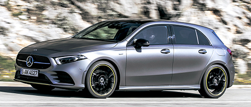 デビュー記念モデル、A250 エディション1。エディショングリーンの差し色やAMGラインの外装パーツ、19インチのマルチスポークホイールなどが装備されたデビュー記念モデル、エディション1はすべてのグレードに用意される