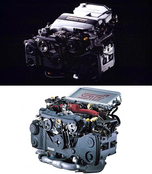 写真はどちらもEJ20型エンジンだが、長い歴史の間に大きく変更されている