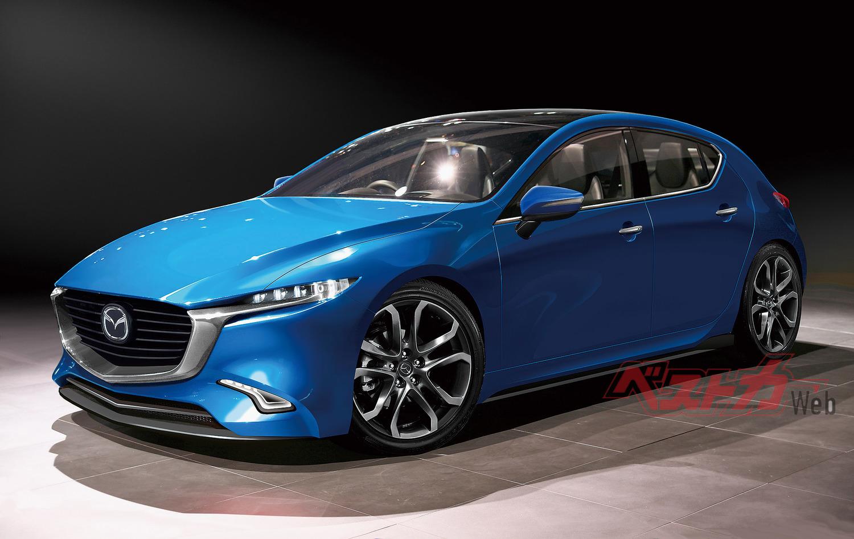 次期アクセラの予想CG。日本および欧州市場ではマツダ車の中心的販売車種になる