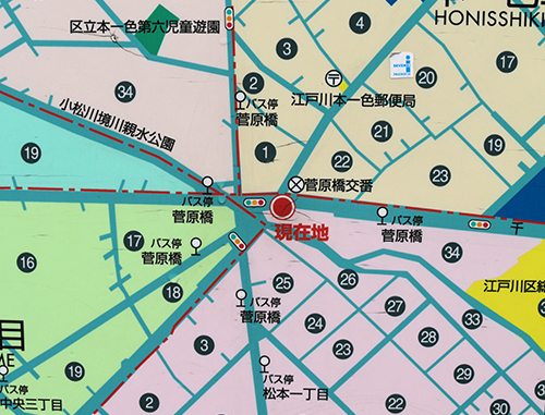 現在の菅原橋交差点を表す地図。日本全国でも珍しい11叉路という複雑きわまりない構造になったのは、おおむね1970年代前半頃だったという