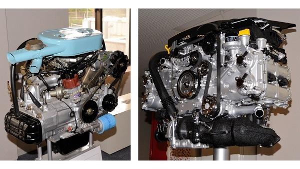 スバル1000に搭載されていた977cc、水平対向4気筒OHVエンジン(左)と現在WRX S4などに搭載される1998cc、水平対向4気筒DOHCターボエンジン(右)。排気量の差はあれど、そのサイズ差は