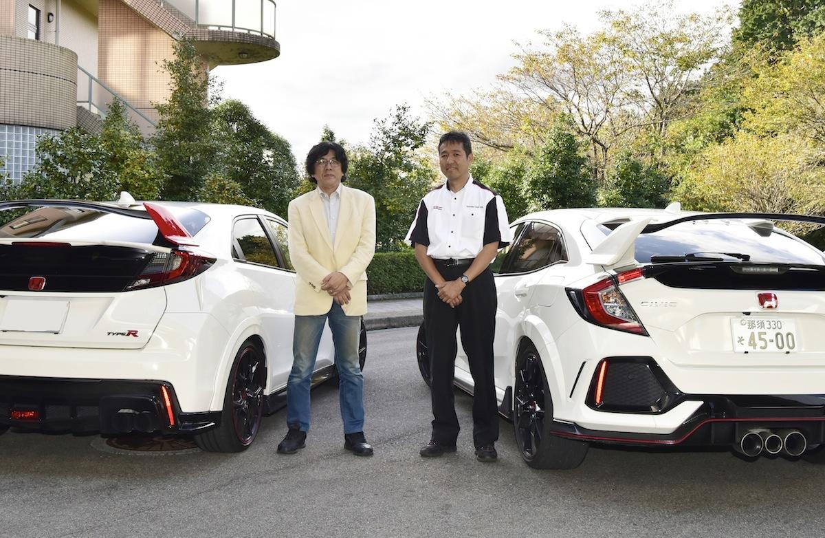 松本正美店長(右)はホンダ愛にあふれる名物店長。無限のF1エンジンの設計を担当するなど輝かしい功績を持つ。渡辺陽一郎氏(左)とは10年ぶりの再会とのこと