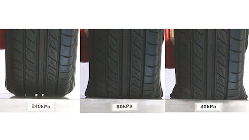 65扁平タイヤを、左から空気圧が高い順に並べたもの。40kPaではかなりたわみ、サイドに負担が掛かっていることがわかる