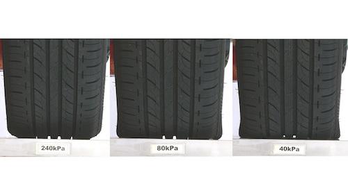 こちらは45扁平のタイヤ。近年増加中の低偏平率タイヤは、空気が減っていてもわかりづらい!!