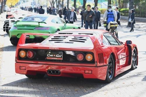 F40やF50、ポルシェ911 GT3など世界のスーパーカーが集合。この近距離で見れる機会はなかなかない!!