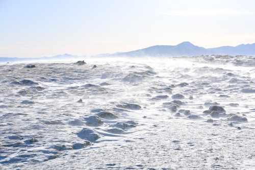 容赦なく雪煙が吹き付ける。寒いよりも痛い感覚が大きい。雲海はいかに!?