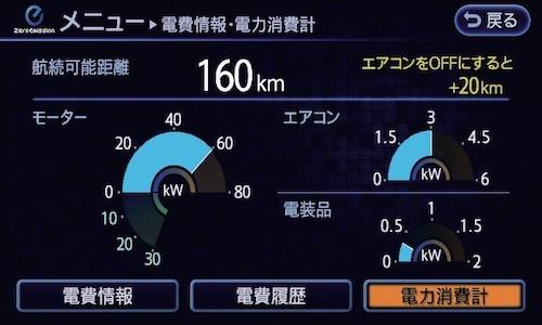 リーフのモニター。航続距離やエアコンのオン/オフによる航続距離の目安なども表示される
