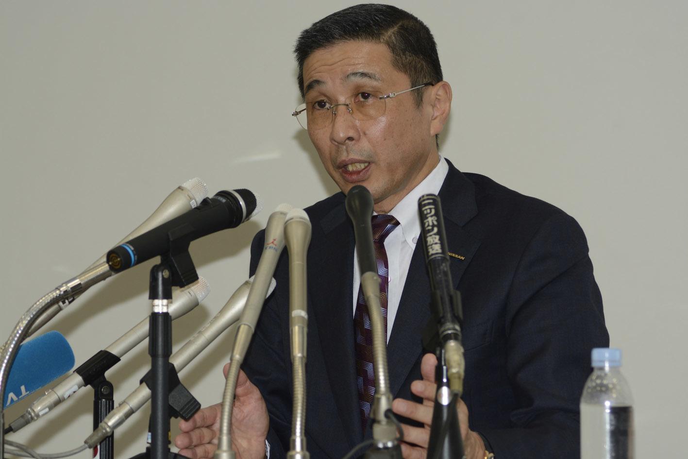 記者会見で謝罪した日産の西川廣人社長。報酬を一部返上し、自工会会長としての活動を一部自粛した