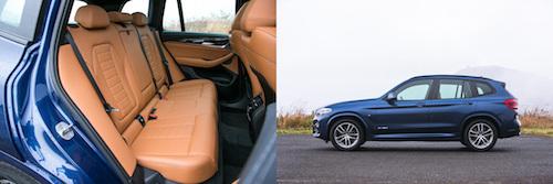 後席は……(左)。4.7m超の全長は国産SUVでいえば、三菱アウトランダーとほぼ同じ長さ