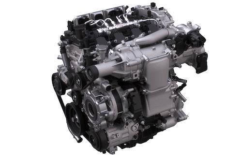 マツダが公開したSKYACTIV-Xエンジン。排気量は1997ccでリッター100psに迫る190psを発揮するという