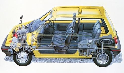 3380mmと現在の軽自動車より小さなボディだが、4輪ストラットを組み合わせて高い居住空間を生み出した