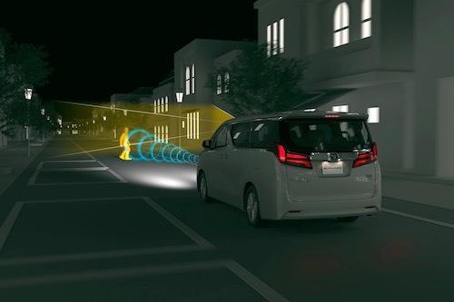 夜間でも歩行者に対応する点が、新世代セーフティセンスの特長