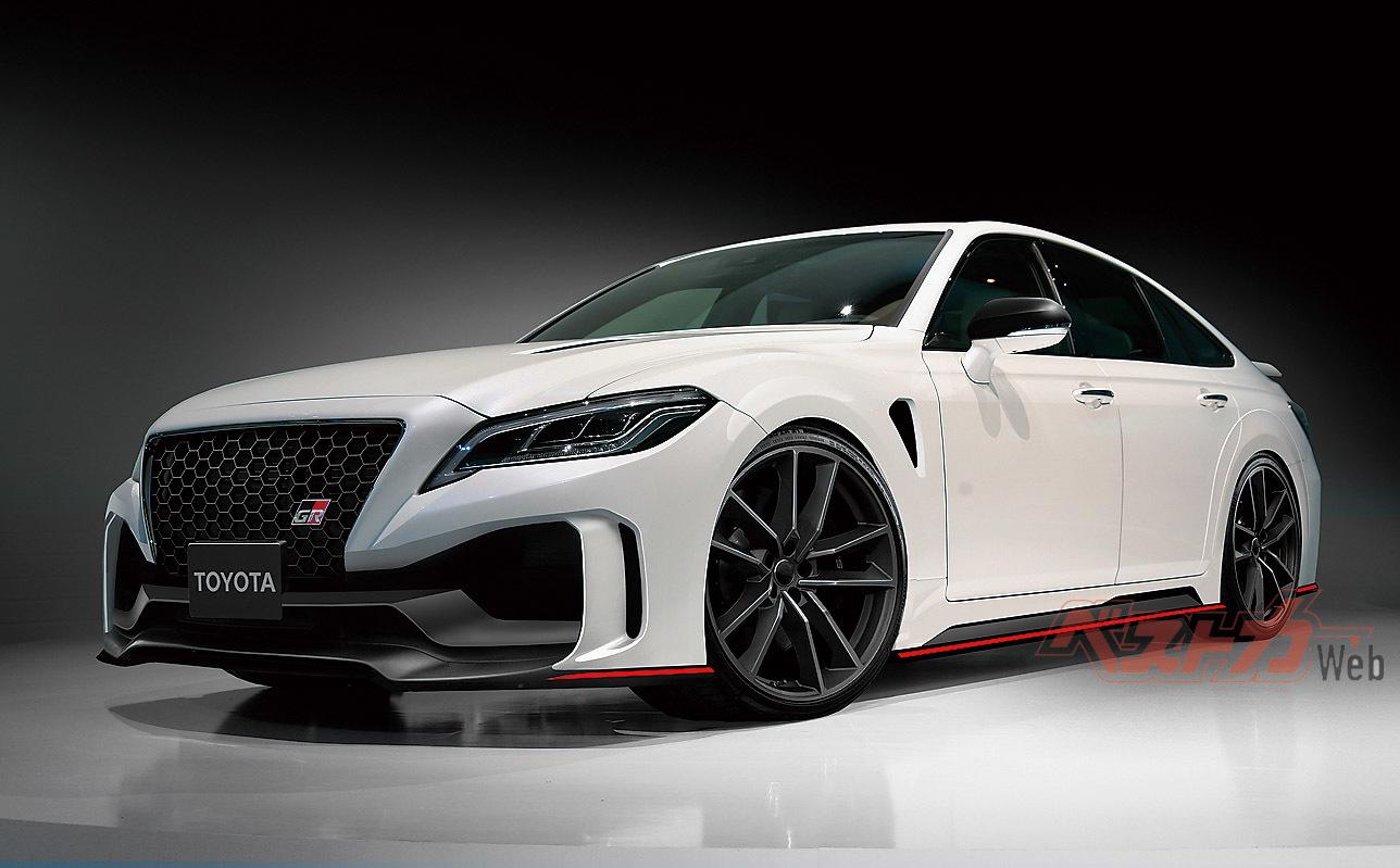 GAZOOレーシングが開発する「GR」の本誌予想CG。「GRMN」はハイチューンの3L、V6ターボエンジンを搭載し、ボディ補強、足回りの強化なども実施。BMWのMシリーズに迫る運動性能を目指している