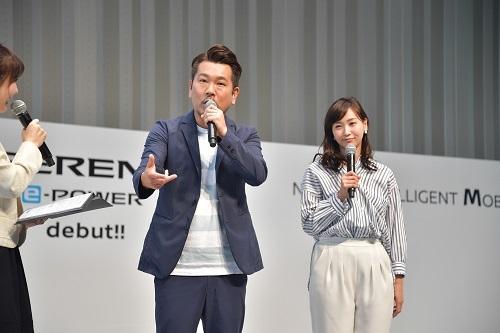 発表会に登場した藤本敏史さんと藤本美貴さん。二人ともセレナe-POWERの静粛性には驚いたという