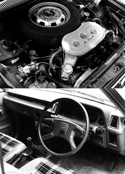 (上)EA81型1.8Lエンジンは新型とはいえOHVエンジンでライバル車とのパワー競争から置いて行かれることになる。(下)1.8Lの4WD車には「デュアルレンジ」という副変速機が付き、4MTは前進8速、後進2速となった
