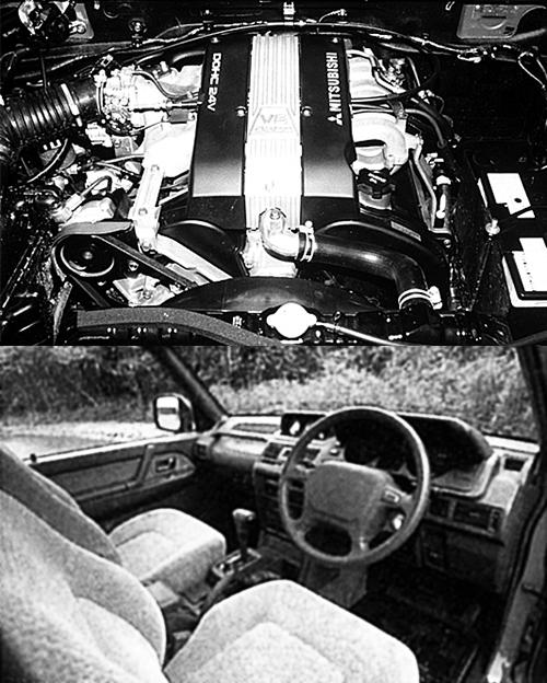 (上)エンジンは6G74と呼ばれるV6DOHC24バルブエンジンで、当時のクロカンに搭載される最強エンジン。後にGDI化され245psに、MIVEC化され280psになる(下)国産のクロカンモデルに初採用だったエアバッグが新鮮。ショートのメタルトップZRはセミバケットシートを採用した