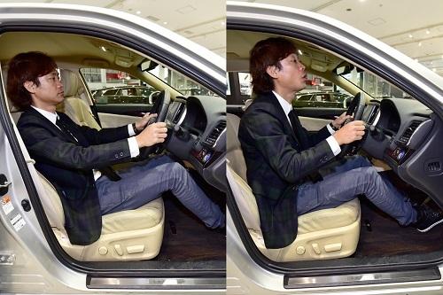 自然な着座姿勢(左)と「前のめり」の着座姿勢(右)のイメージ。後者の場合、シートで充分に身体を支えれず、疲労の原因に