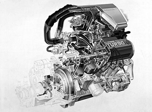 シティターボの特徴はホンダ初の電子制御噴射装置PGM-FIの採用と0.75㎏/㎝2という高い過給圧にあり、最先端技術の投入により最高出力は67psから100psへと一気に約50%アップになった