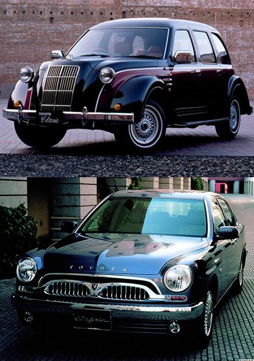 (上)威風堂々としたスタイルのトヨタのクラシック。ベースはラダーフレームのハイラックスのダブルキャブで、価格は800万円だった(下)2000年に1000台限定で登場したトヨタのオリジン