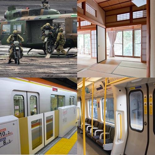 (左上)陸上自衛隊のヘリコプターUH-1J。両面をスライドドアとすることで、戦地でも隊員の乗り降りが素早くできる(右上)日本伝統の襖。スライドドアの原型はやはりこれか!?(左下)駅のホームドアもスライド式。 いいネ! (左下)地下鉄のドアももちろんスライドドアです