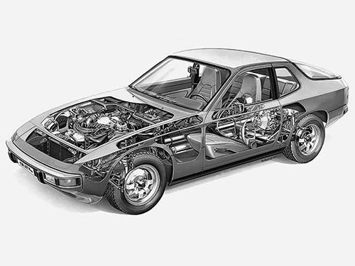 ポルシェ914の後継として開発が始まった924は当初、プラットフォームをVWやアウディの量販車から流用されていて、リアサスはVWタイプⅠのものだった