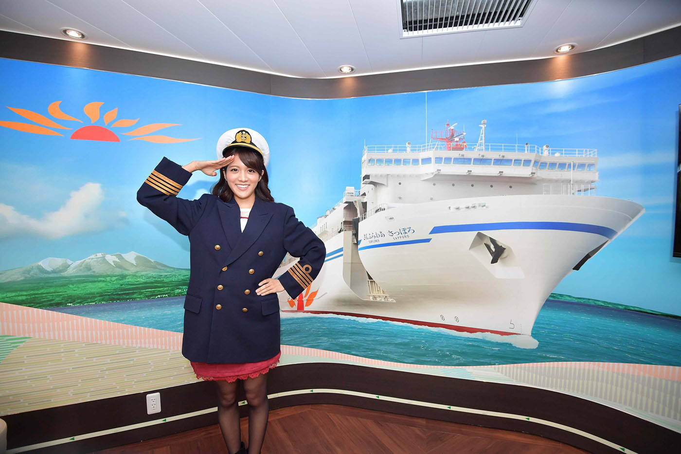 船内は多彩な娯楽施設が充実。船長気分の撮影スポットもその一つ