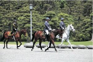 新任大使の信任状捧呈式の際に撮影した皇宮警察騎馬隊。騎馬隊は大乗車の馬車の戦闘で警護する。悠々と進む馬車列に足を止めて撮影する人も多い。