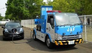 JAFが保有する2tサイズの移動給電車。