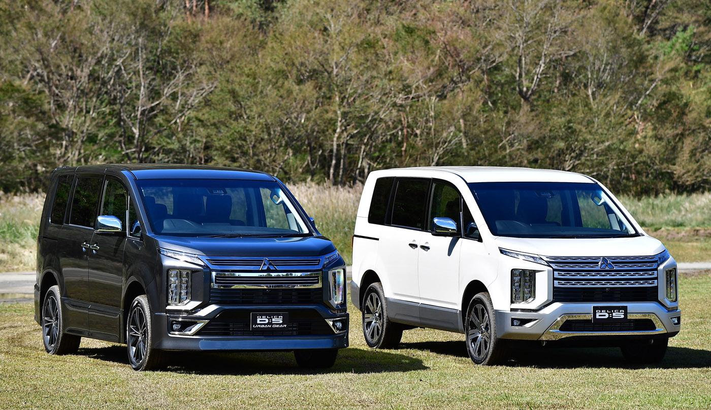 新型デリカD5  全長4800×全幅1795×全長1875mm、ホイールベース2850mm、総排気量2267cc(ディーゼル)、車両重量1950kg(7人乗り)、JC08モード燃費13.6km/L(軽油)、